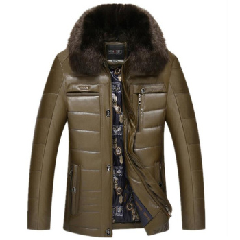 In elderly men PU cotton padded jacket with short fur collar jacket dad winter