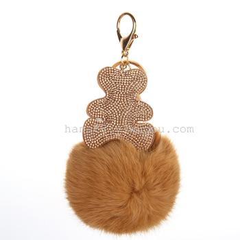 Rabbit hair pendant hair ball diamond bear key chain bag pendant car key accessories