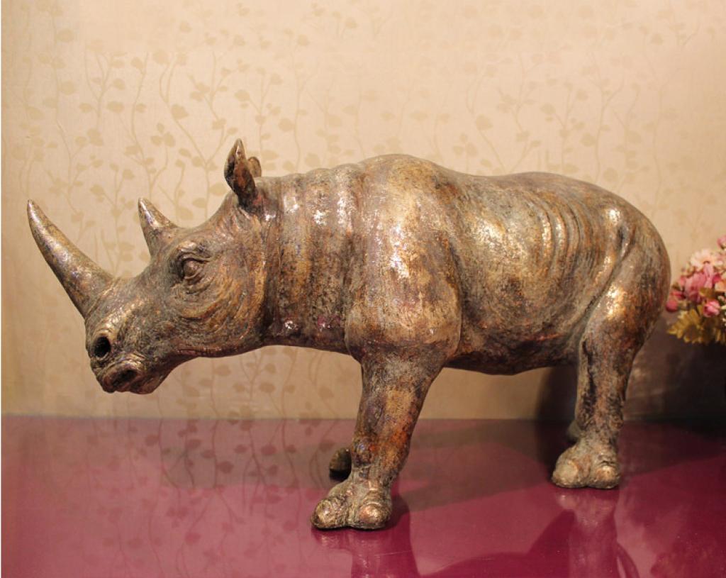 欧式创意树脂工艺犀牛摆件 家居酒店ktv客厅装饰品批发