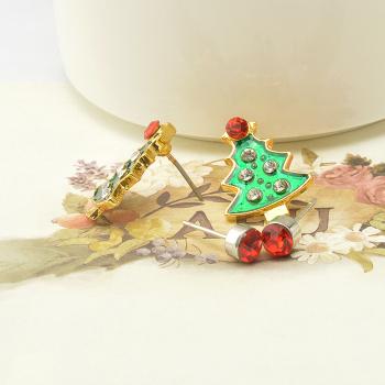 欧美新款圣诞系列合金耳饰圣诞树小耳钉套装厂家批发