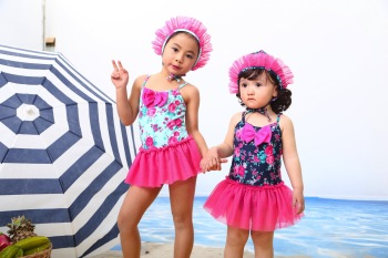 2016 New Korea children's small floral one-piece swimsuit lovely Princess style