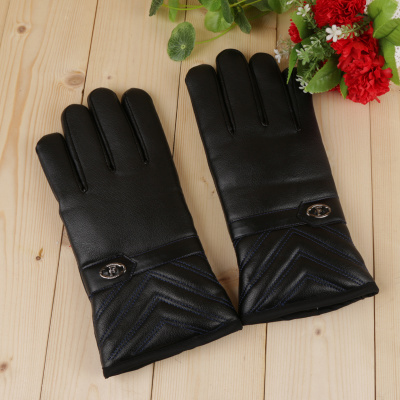 Autumn and winter new warm leather gloves for men and women with gloves and gloves.