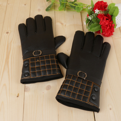 Autumn and winter new warm imitation leather gloves for men and women with touch screen gloves.
