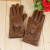 Autumn and winter women's leather gloves warm and fluffy touch screen gloves.