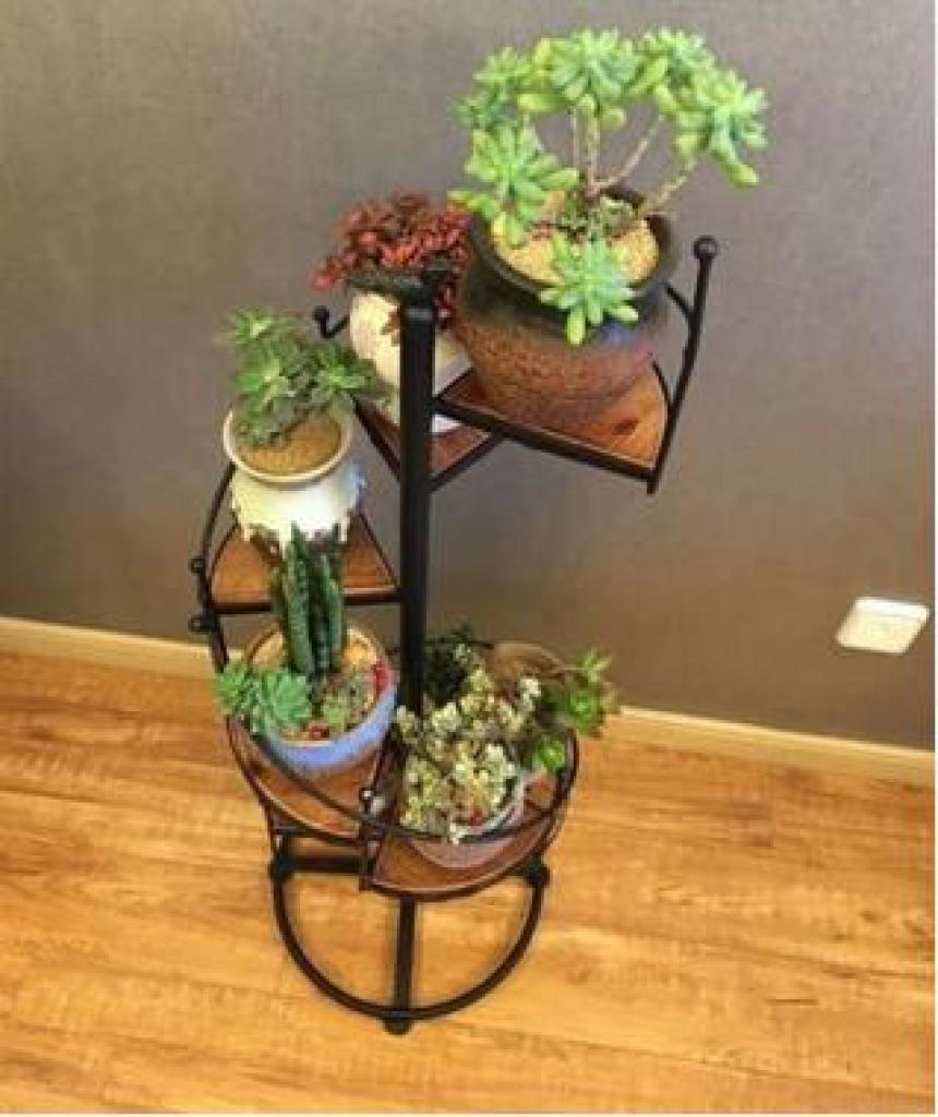 欧式实木花架铁艺多层阳台客厅装饰落地花盆架绿萝植物多肉花架子
