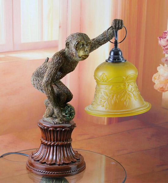 树脂家居摆件 欧式树脂工艺猴子台灯客厅卧室装饰品