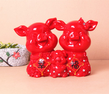 New decoration Home Furnishing gifts festive happiness pig animal resin crafts