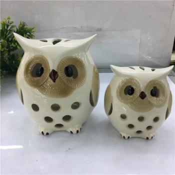 厂家直销 创意家居摆件 陶瓷猫头鹰镂空烛台工艺品