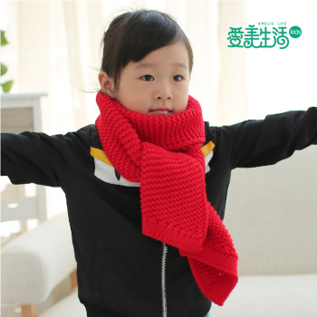 Fashion Korean boy girl Weiji scarf new autumn and winter children pure wool knitted fabric thickening
