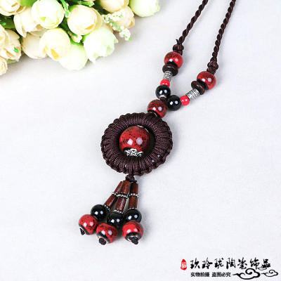 The original folk style long paragraph sweater chain necklace ceramic female all-match jewelry ornaments