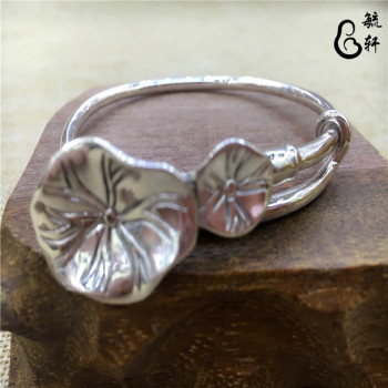 S999 silver hand embossed lotus leaf lotus Zuyin telescopic adjustable retro boutique Bracelets