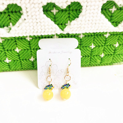 Hot style amber wax cloisonne earrings factory direct sale