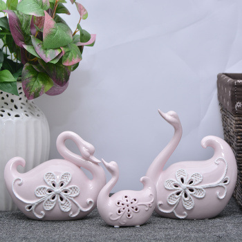 Creative ceramic ornaments adorn lovers Swan suit Home Furnishing animal Crafts Ornament