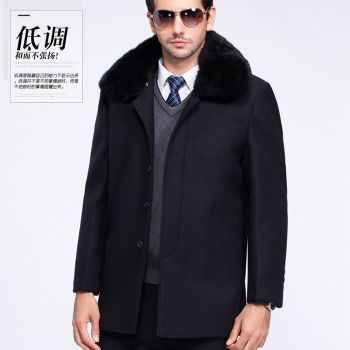 Woolen winter male wool coat coat and cashmere coat thick warm in the long section of father put