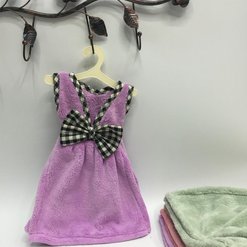 珊瑚绒小裙子擦手巾 厨房擦手布 涤锦加厚洗水抹布