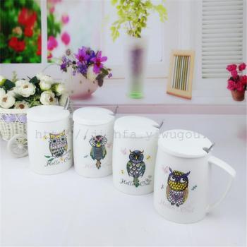 创意卡通陶瓷杯 猫头鹰个性马克杯日用百货水杯