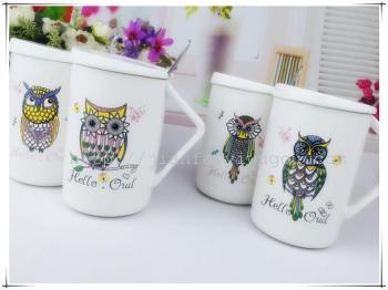 创意陶瓷杯 带盖带勺亚光猫头鹰杯子