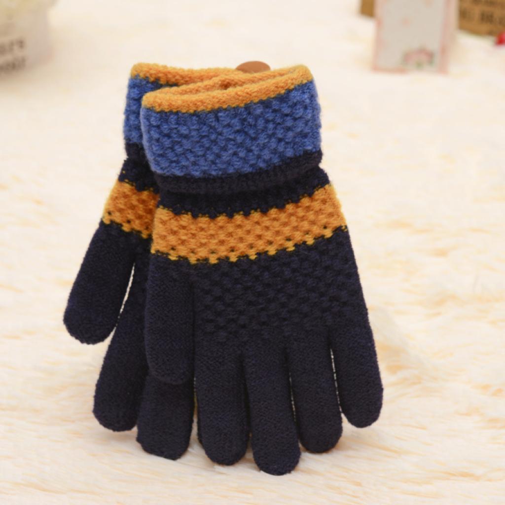 儿童保暧加厚五指手套男女童针织防冷手套包