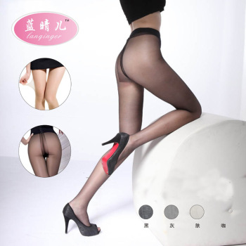 Cored wire T transparent anti stealth crotch pantyhose hook thin silk stockings