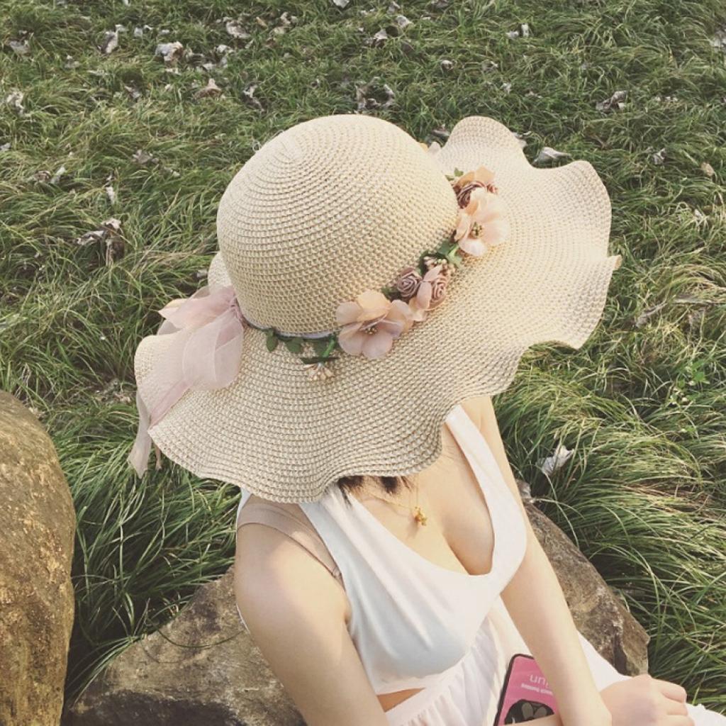 夏天遮阳帽海边沙滩帽草帽波浪边太阳帽女防紫外线帽子