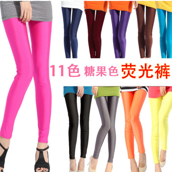 Thin multicolor fluorescence pants nine candy black pencil pants feet pants trousers
