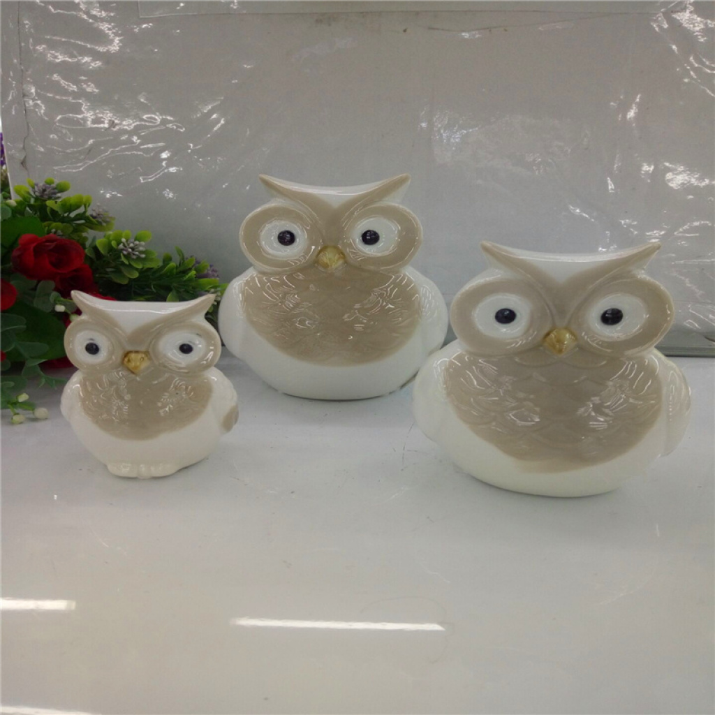 陶瓷猫头鹰套装装饰品家居花园摆件工艺品图片