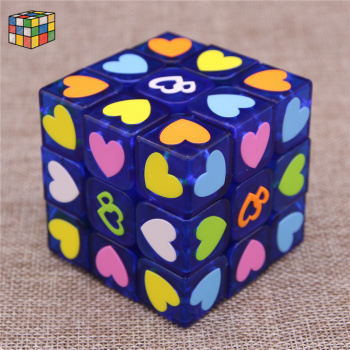 The new three order 3 order real love cube beginner professional color sticker toys