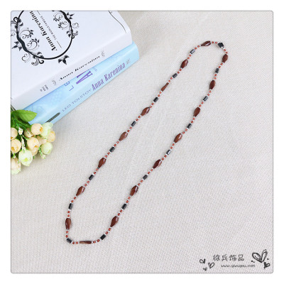 Strong Magnetic Hematite Beads Beaded Necklace Bracelet crooked lines magic sweater chain