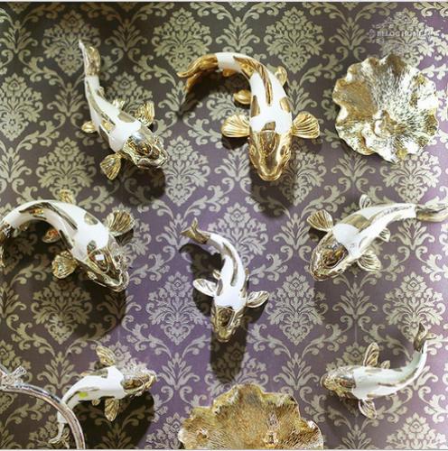 树脂工艺品 创意软装饰品 电镀鲤鱼 背景墙壁挂件