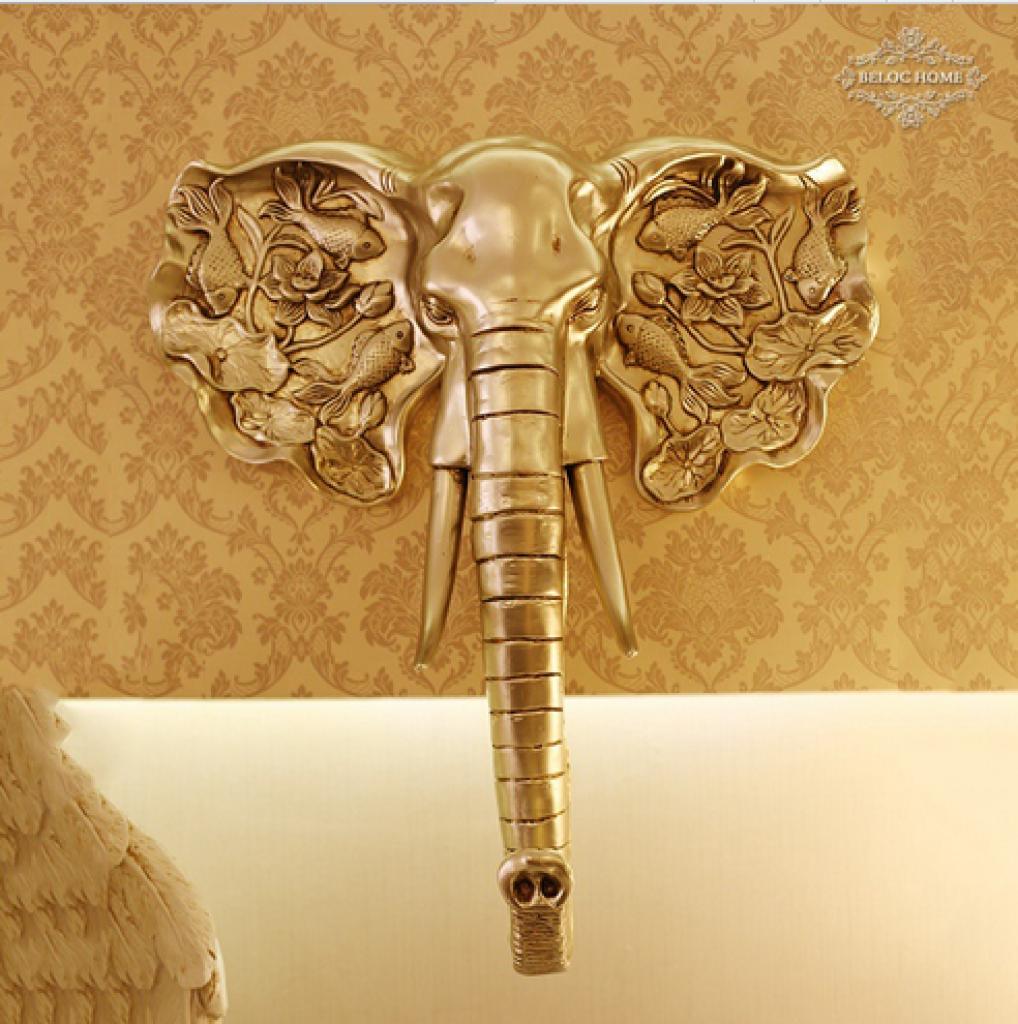 树脂工艺品 欧式家居软装饰品 仿古鱼饰大象头壁挂件