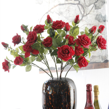 Artificial flowers moisturizing rose 3 head single rose flowers wholesale realistic feel