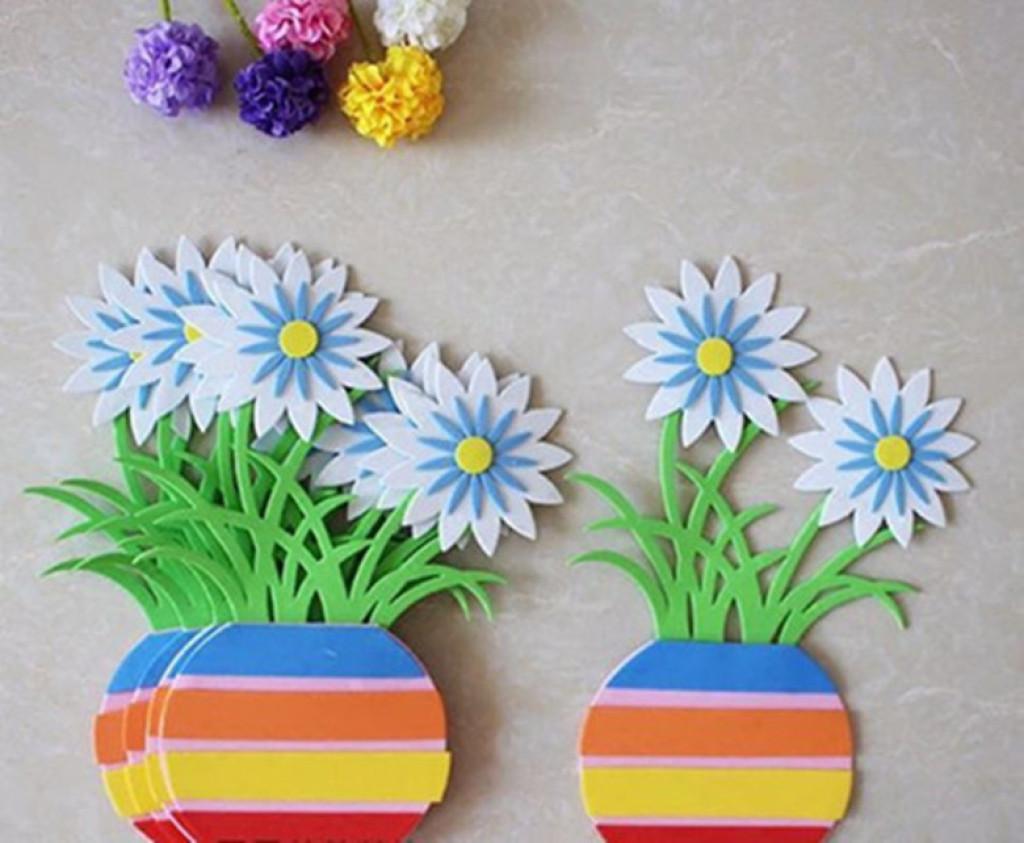 墙贴环境布置过道走立体花盆创意泡沫 幼儿园教室儿童房装饰