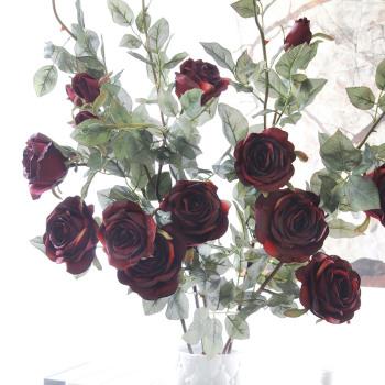 Three European head Diamond Rose long branch Home Furnishing decorative flowers wholesale high-grade artificial flowers