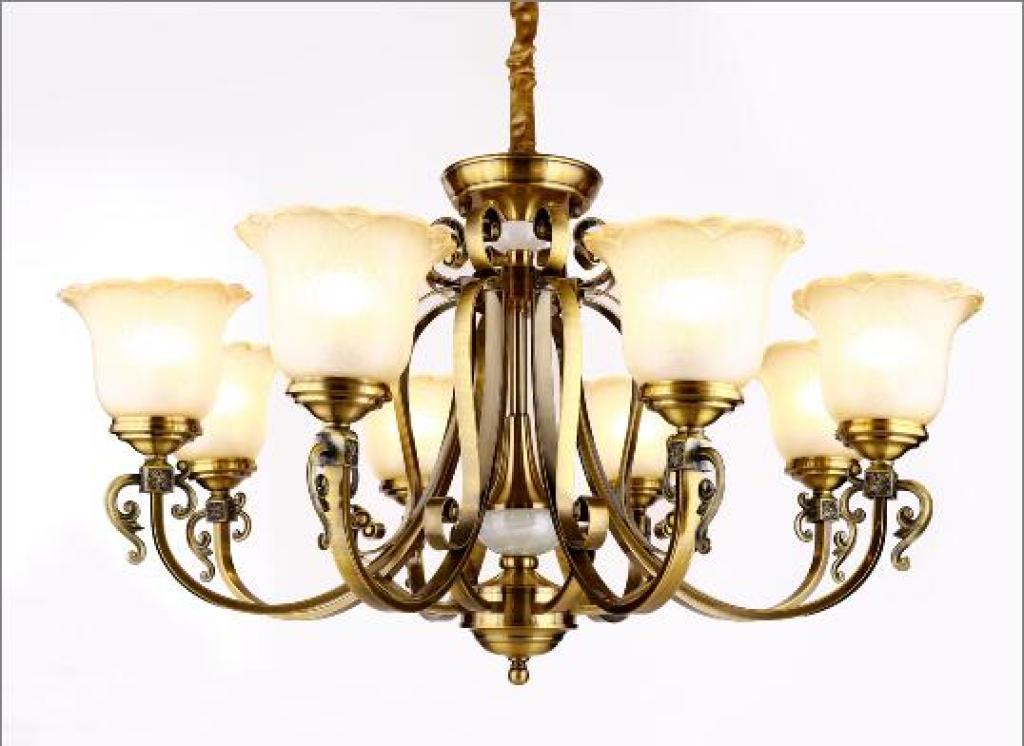 复式楼别墅大厅吊灯欧式复古铁艺镀铜客厅灯楼梯大气吊灯