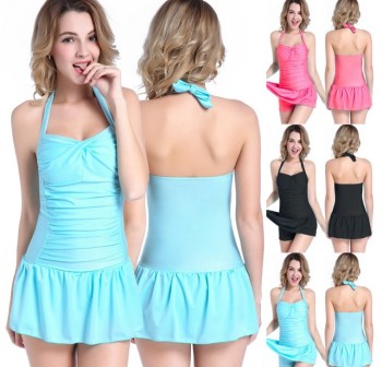 Skirt type swimsuit female small chest thin cover belly size gather hot spring winter swimming