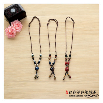 A long paragraph sweater chain buckle female Pendant Gift crystal beads folk style jewelry
