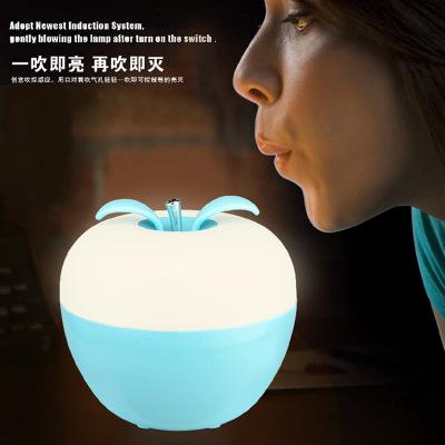 Blowing control Apple bedroom bedside Nightlight USB atmosphere lamp seven color light adjustable LED lamp