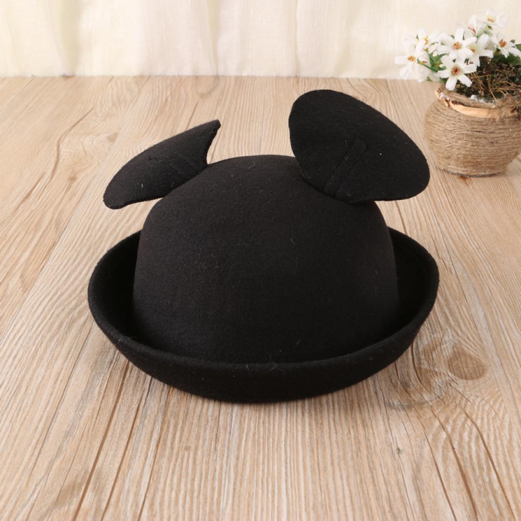 韩国可爱米奇大耳朵圆礼帽米老鼠帽子明星同款帽子