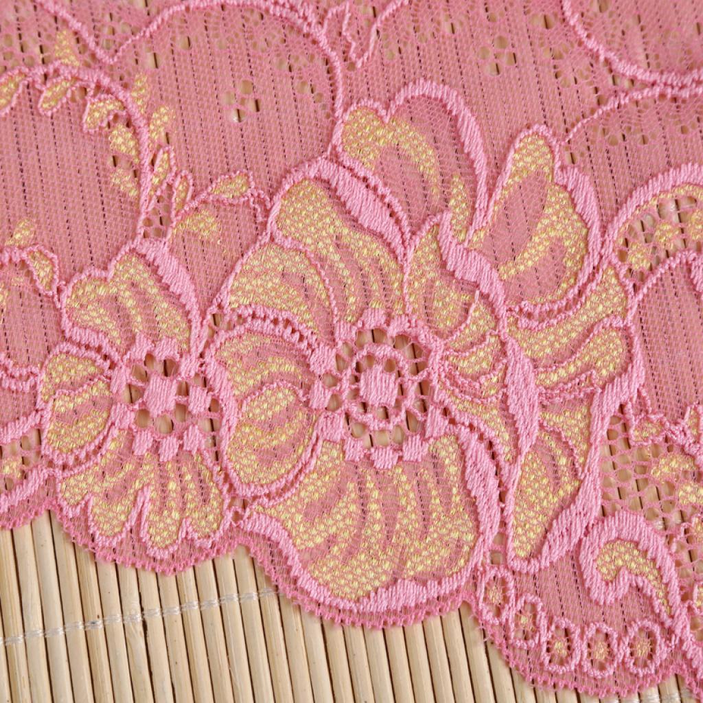 蕾丝面料浅粉色花纹图案花边 厂家直销_ 凯利针纺_ 城