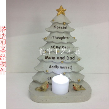 The new Christmas Tree Bible with electronic candle lamp resin decoration crafts