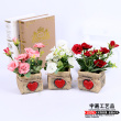 Three color rose flower pot red pottery basin simulation wholesale crafts Home Furnishing Hotel