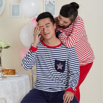 Autumn couple Pajamas with long sleeves Korean leisure out stripe long sleeve Pajama set cotton clothing