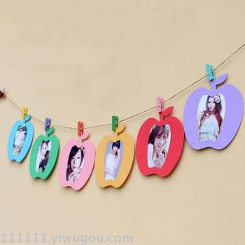 Cheap clothes decorated with the image of cartoon animal fruit baby colorful paper rope color photo wall