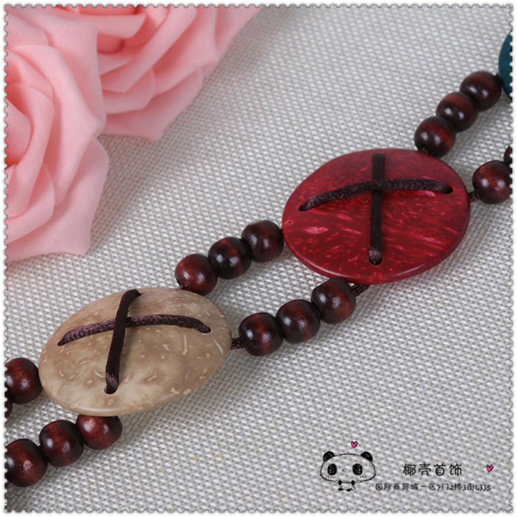 民族风手工彩色椰壳编织饰品