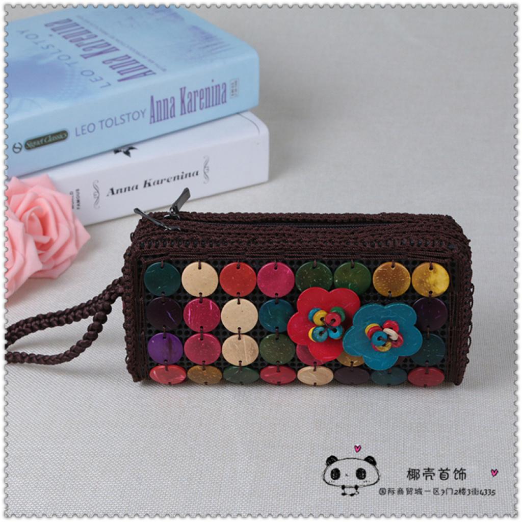 时尚手工编织民族风椰子包椰壳零钱包