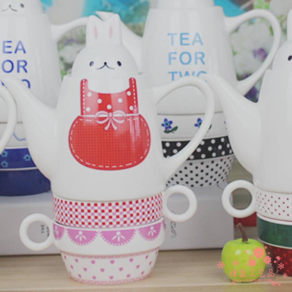 新款卡通陶瓷茶具套装 可爱兔子茶具茶壶茶杯子母壶
