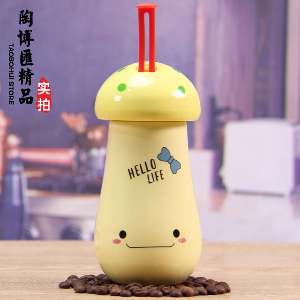 色釉蘑菇造型动陶瓷水杯 时尚呆萌动物表情 春节送礼佳品