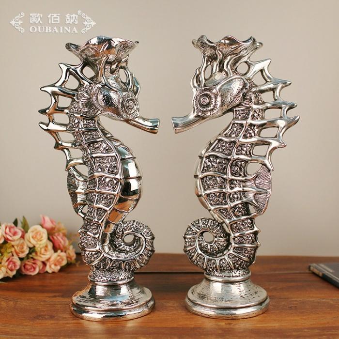 欧式家居装饰品 海马烛台客厅摆件树脂工艺品结婚创意