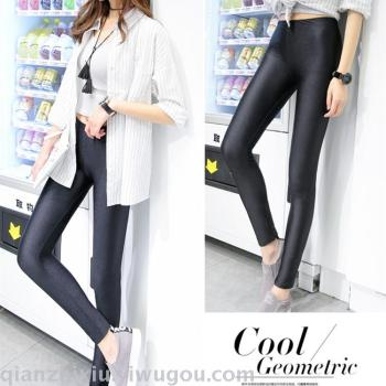Nine large size thin elastic pants gloss pencil pants and thin outer wear backing