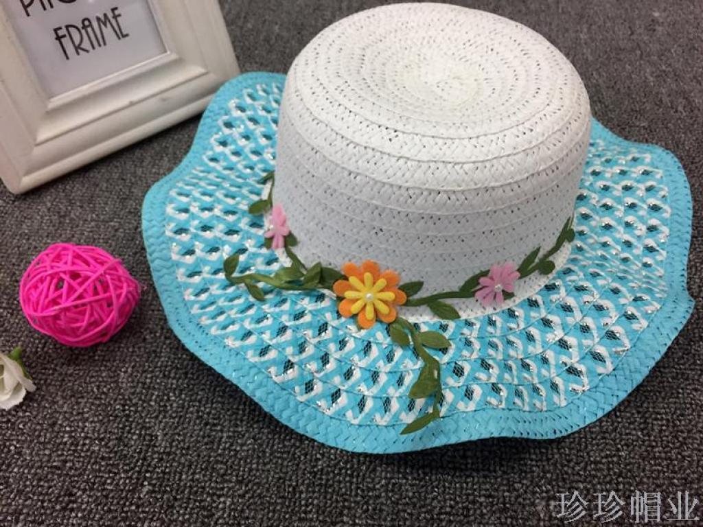儿童帽夏天女宝宝凉帽树叶花朵海边沙滩帽防晒大沿草帽可折叠帽子